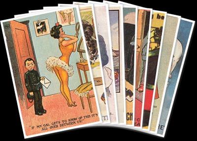 Vis Naughty postcards