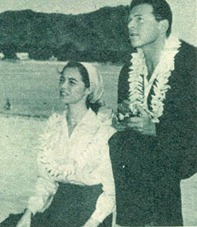 Marisa and Jean Pierre Aumont during their honeymoon in Hawaii.