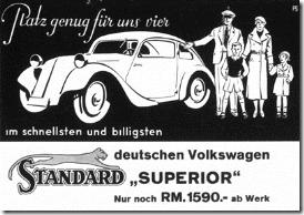 """Brochure for the Standard Superior, advertised as the """"Deutschen Volkswagen"""" (""""German Volkswagen""""), 1934"""