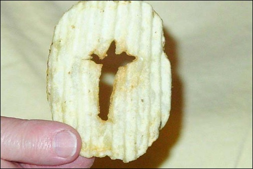 Newport resident Carol Isaak was having a snack on Saturday, April 7, 2012, when she saw what she thinks is an image of Jesus Christ on the cross in her potato chip. (Courtesy to Pioneer Press)