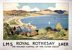 Vintage travel poster produced for the London Midland & Scottish (LMS) and London & North Eastern Railway (LNER), promoting rail travel to Royal Rothesay, Scotland, showing a cliff-top view of the bay, where pleasure boats are seen departing from a pier. Artwork by Robert Houston.